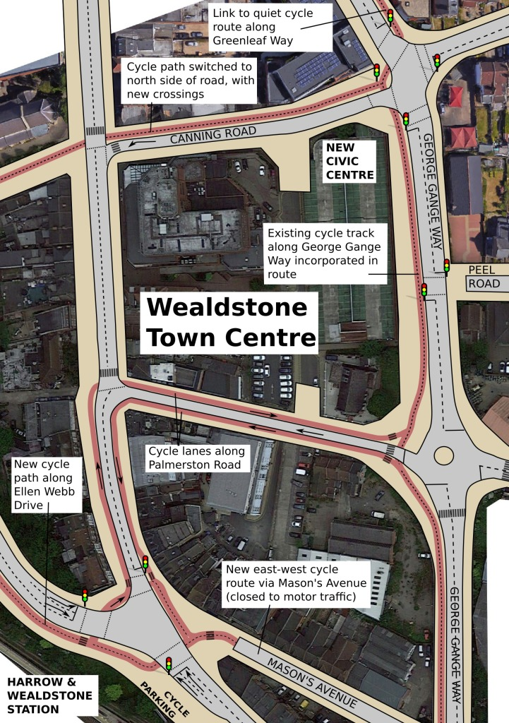 Proposed cycle network in Wealdstone town centre